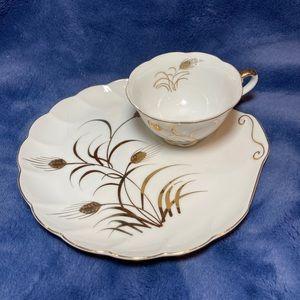 Vintage Lefton Autumn Gold Wheat  Luncheon tea set